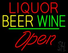 Liquor Beer Wine Cursive Open Neon Sign 24 Tall x 31 Wide x 3 Deep, is 100% Handcrafted with Real Glass Tube Neon Sign. !!! Made in USA !!!  Colors on the sign are Red, Yellow and Green. Liquor Beer Wine Cursive Open Neon Sign is high impact, eye catching, real glass tube neon sign. This characteristic glow can attract customers like nothing else, virtually burning your identity into the minds of potential and future customers.