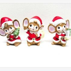Ceramic Santa's Mice Helpers Elves Set of 3 Christmas Crafts, Christmas Decorations, Christmas Ornaments, Holiday Decor, Go Tv, Goodwill Finds, Antique Christmas, Mice, Elves