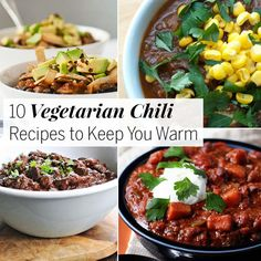 Instead of meat, find loads of veggies, beans, sweet potatoes, and thickeners like quinoa and lentils in these vegetarian chili recipes