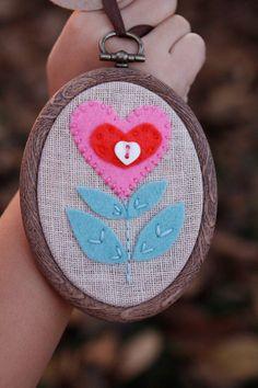 Mini Embroidery Hoop Art. Felt Heart Flower by CatshyCrafts, $25.00