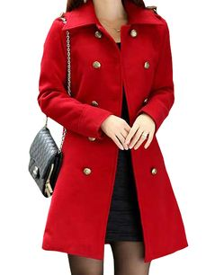 Fabulous Lapel Double Breasted Wool Trench Coat