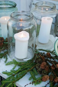 winter or christmas, a white-red ribbon will complete the decor Christmas Makes, Country Christmas, Simple Christmas, Winter Christmas, Christmas Party Decorations, Christmas Candles, Homemade Christmas Gifts, Christmas Crafts, Christmas Ideas