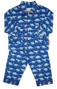 Blue Dinosaurs Brushed Organ Cotton Pyjamas with matching bag by Toby Tiger.  http://www.littlesunflowers.com/toby-tiger/blue-dinosaurs-brushed-cotton-pyjamas-p-23468.html