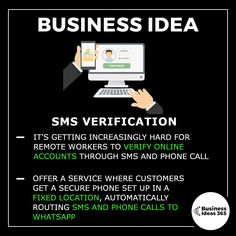 This is a problem that I've really been struggling with while travelling and running my business. There's a lot of online services which require an sms verification code before you can login. Only problem is that you're changing sim cards all the time when travelling. It's not a hard problem to solve, just offer a service which sets customers up with a phone and sim in a fixed location and routes the sms messages to an online platform.  | | 📹 Subscribe on Youtube for more detailed ideas | Top Business Ideas, Business Money, Home Based Business, Business Planning, Online Business, How To Get Money, Earn Money, Drop Shipping Business, Think