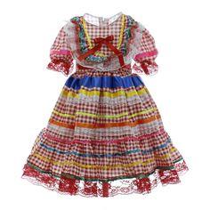 Vestido Festa Junina Xadrez Vermelho com Fitas e Rendas