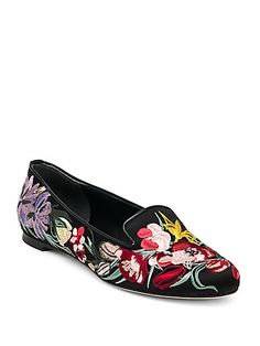 Love this by ALEXANDER MCQUEEN Floral-Embroidered Smoking Slipper, Black/Multi - $745