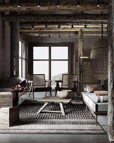 The Spirit Of Wabi-Sabi Interiors Wabi Sabi, Casa Wabi, Black Bathroom Furniture, Timber Shelves, Casa Cook, Modern Staircase, Modern Fireplace, Deco Design, Interiores Design
