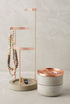 cuivre-Collection de rangement et de porte-bijoux Tesora