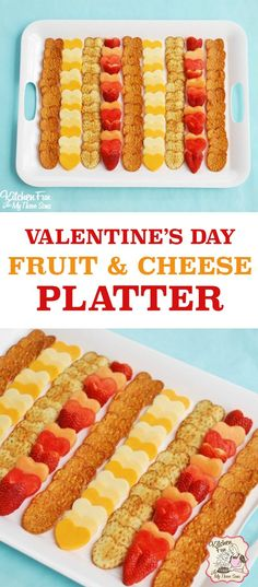 Adorable heart themed fruit and cheese party platter! Easy recipe treat for Valentine's Day, Wedding or Shower. Cute fun food idea!