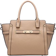 Pink Haley Khaki Corabelle Satchel ($35) ❤ liked on Polyvore featuring bags, handbags, structured purse, satchel purse, beige handbags, pink handbags and pink satchel