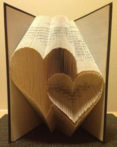 Book folding pattern for 2 Hearts ~ Love ~ Romance ~ Anniversary ~ Wedding +FREE tutorial This pattern enables the folder to create the pattern pictured in to a book. Its not as complicated as it looks! the res. Folded Book Art, Paper Book, Paper Art, Paper Crafts, Cut Paper, Paper Clay, Old Book Crafts, Book Page Crafts, Book Folding Patterns Free