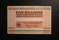 Hyper-inflation 1,000,000,000 (1 billion) German Mark bank note, 1923.