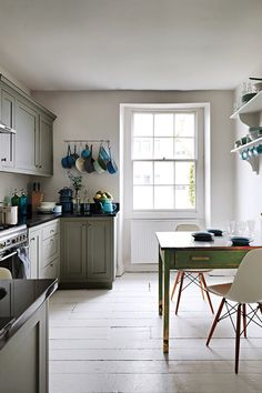 Side wall lower. Farrow and Ball Manor House Gray and Cornforth White kitchen