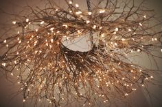 Twine/branches/twinkly lights chandelier (DIY) Love it! Branch Chandelier, Chandelier Lighting, Chandeliers, Nantucket Home, Diy Interior, Love And Light, White Light, Home Lighting, Pergola Lighting