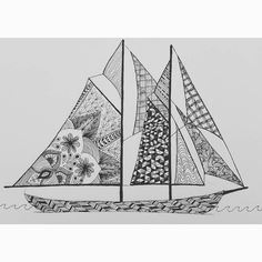 Finished zentangle... let me know what you think! #bluenose #boat #ship #sailboat #art #artist #sketch #sketchbook #sketchpad #zentangle #patterns #blackandwhote #penart #pen #fineliner #details by art.posts_