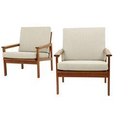 Pair Danish Modern Teak Arm Chairs Designed By Illum Wikkelso
