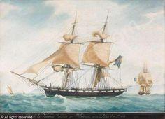 """ROUX Antoine Joseph Ange (Antoine Roux Père), 1765-1835, """"Brick la Tamise, Construit par J n. Jouvin, mise à L'Eau le 19. 7bre 1822"""".   Watercolour."""