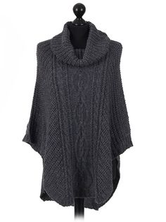Italian  wool mix turtle neck knitted poncho in navy blue