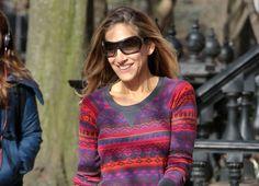 #Intarsia #sweaters #outfits: Sarah Jessica Parker, en Nueva York