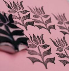 Flower Rubber Stamp Hand Carved Stem Flower Leaf Embellishment Supply