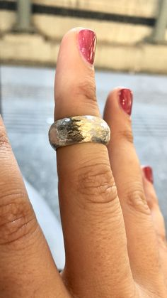Contemporary silver Wide band hammered textured ring scratch effect foster, modern silver woman's ring handmade in #Greece #fashion #fashionista #style #gifts #shopping