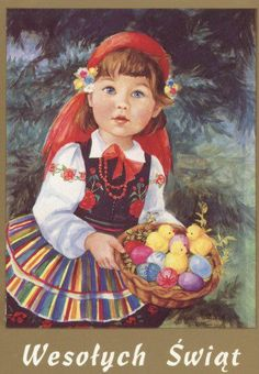 Girl with the Easter eggs Easter Art, Easter Eggs, Vintage Cards, Vintage Postcards, Polish Easter, Polish Christmas, Polish Folk Art, Great Paintings, Decoupage Paper