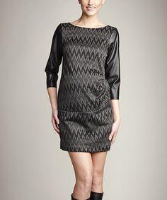 Charcoal Zigzag Maternity Boatneck Dress by Maternal America #zulily