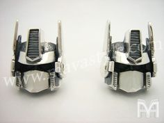 Etsy の Sterling Silver Optimus Prime Cufflinks by MAVASTYLE