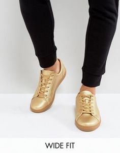 3076273f04cb ASOS Wide Fit Sneakers in Gold Metallic High Top Sneakers