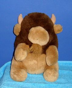 "Wild Wonders Sitting Buffalo Bison Bull 9"" Stuffed Animal Plushie #WildWonders"