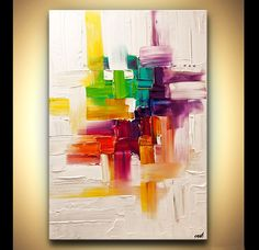 Original abstract art paintings by Osnat - colorful abstract painting on white…
