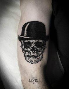 That's a dapper looking skeleton. Tattoo by Ien Levin #InkedMagazine #tattoo #tattoos #dapper #skull #inked