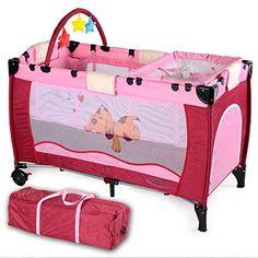excelente TecTake Cuna infantil de viaje de altura ajustable con acolchado para bebé rosa Encuentra más en http://www.cunas-para-bebes.net/tienda/producto/tectake-cuna-infantil-de-viaje-de-altura-ajustable-con-acolchado-para-bebe-rosa/