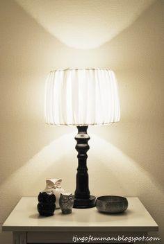 diy, do it yourself, tine k, tinek, lampa, lampskärm, lampfot, pyssel, pysseltips, inredning, interiör, livingroom, vardgsrum