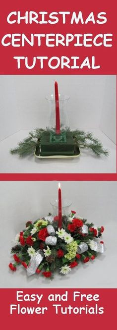 Christmas Table Centerpieces - Easy Step by Step Flower  Tutorials  Learn how to make centerpieces like a professional florist - with easy photos for guidance.