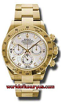 116528-MD - This Rolex Oyster Perpetual Cosmograph Daytona Yellow Gold Mens Watch features 40 mm 18K yellow gold case, Mother of pearl dial, Sapphire crystal, Fixed bezel, and a Stainless Steel and 18K yellow gold bracelet. Rolex Oyster Perpetual Cosmograph Daytona Yellow Gold Mens Watch also features Automatic movement, Analog display. It is water resistant up to 100m/330ft. - See more at: http://www.worldofluxuryus.com/watches/Rolex/Daytona/116528-MD/641_645_6573.php#sthash.NFRe1tBq.dpuf