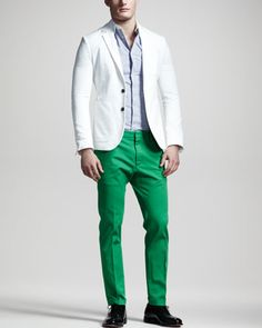 Chic Summer Blazer, Contrast-Collar Check Shirt & Slim Twill Pants by DSquared2 at Neiman Marcus.