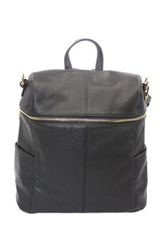 """This beautiful mid sized backpack has slim side pockets along with a larger back pocket. An additional attachable strap makes this backpack very versatile which can be transformed into a cross body bag.Please take note before ordering that most of our backpacks are small to medium and NOT large or oversizedand mostcan be transformed into a handbag. Note measurements below for each style:    Measures: 13.5"""" H x 14.5"""" W x 6"""" D   Candra Vegan Leather Backpack by FaFa-Montreal. Bags…"""
