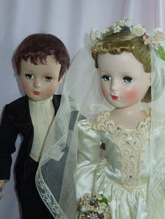 """Rare Pair of Vintage 21"""" Madame Alexander Bride and Groom"""