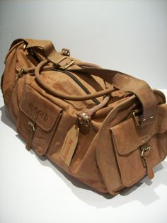 New Rugged Mens Womens Leather Duffle Travel Handbag Luggage Overnight Take a look at the fashinable duffel bags Travel Handbags, Comme Des Garcons, Leather Men, Leather Bags, Vintage Leather, Travel Bag, Travel Luggage, Leather Working, Camping