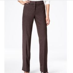 """Brown Fully Lined Wool Blend Pants Perfect condition.  Flat front, fully lined, 55% wool, zip fly, button hook closure, no front pockets, one button back pocket.  Approx measurements laying flat: waist 18"""", hips 21.5"""", front rise 11"""", back rise 16"""", inseam 31"""", leg opening 10"""". Charter Club Pants Trousers"""