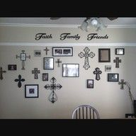 I love this wall of crosses & pictures