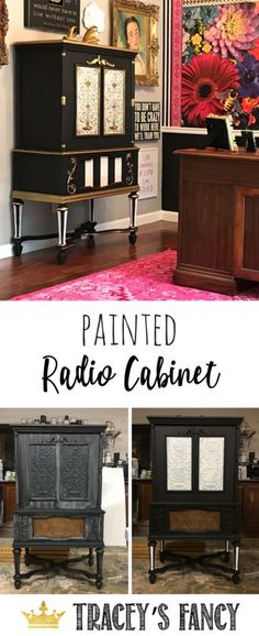 Painted Radio Cabinet by Tracey's Fancy | Painted Furniture Ideas | Painted Antiques | How to Paint Furniture | Furniture Painting Tips | Black and White Furniture | Gold Furniture  | Home Offie Furniture