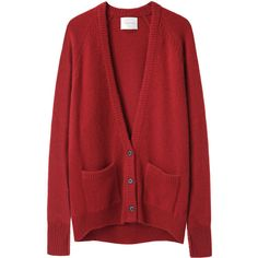 La Garçonne Moderne Gamine Cardigan ($495) ❤ liked on Polyvore featuring tops, cardigans, sweaters, outerwear, raglan sleeve top, red top, cardigan top, deep v neck top and red cardigan