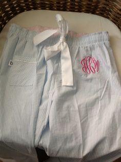 Seersucker Monogrammed Pajama Pants. $24.00, via Etsy.