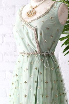 Order contact my whatsapp number 7874133176 Mint Green Poppy Lane Wrap Gown. Indian Gowns Dresses, Indian Fashion Dresses, Indian Designer Outfits, Pakistani Dresses, Indian Outfits, Fashion Outfits, Indian Designers, Maxi Dresses, Fashion Boots