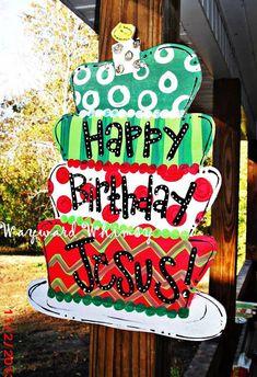 Happy Birthday Jesus Christmas cake Wood Cut by TheWaywardWhimsy