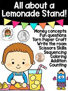 DISTANCE LEARNING All about a Lemonade Stand! by Scribbles and Scrabble | Teachers Pay Teachers Science Resources, Reading Resources, Math Activities, School Resources, Teacher Resources, Torn Paper, Elementary Math, Fun Math, Business For Kids