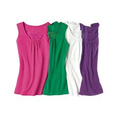 4-Pack of Lace-Inset Tanks in Women's   Pack of four tanks; purple, white, pink and green. Also available in Misses. FEATURES • Round neckline with lace detail • Bra-friendly straps • Versatile longer length, ideal for layering • Ruching at center of neckline under lace MATERIALS • 59% Cotton • 36% Polyester • 5% Spandex ~ Avon Lady Beth Bailey ~ Avon eStore LipstickShoesAndMore.com