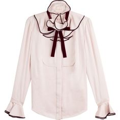Roksanda Ilincic Silk Blouse ($989) ❤ liked on Polyvore featuring tops, blouses, magenta, pale pink top, flounce tops, pink silk blouse, pink top and frilly blouse